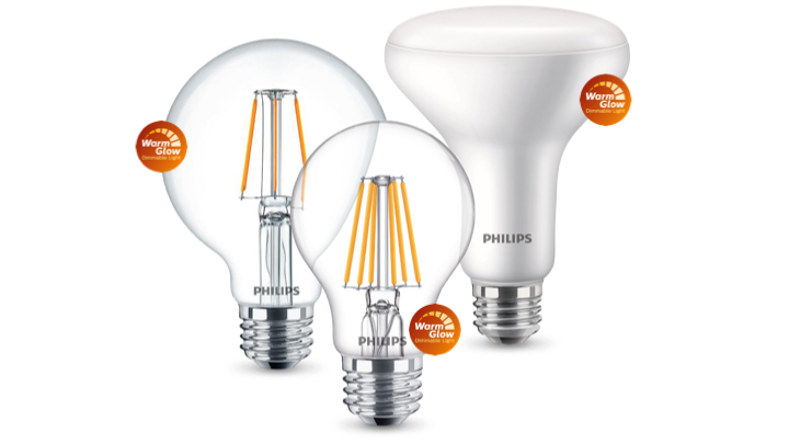 Familia de productos de bombillas LED WarmGlow de Philips con la etiqueta WarmGlow